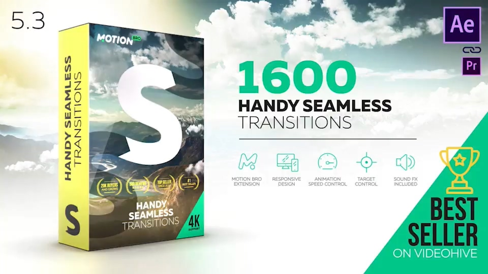 AE脚本:Handy Seamless Transitions V5.3_1600+超级无敌无缝转场包(Motion Bro)