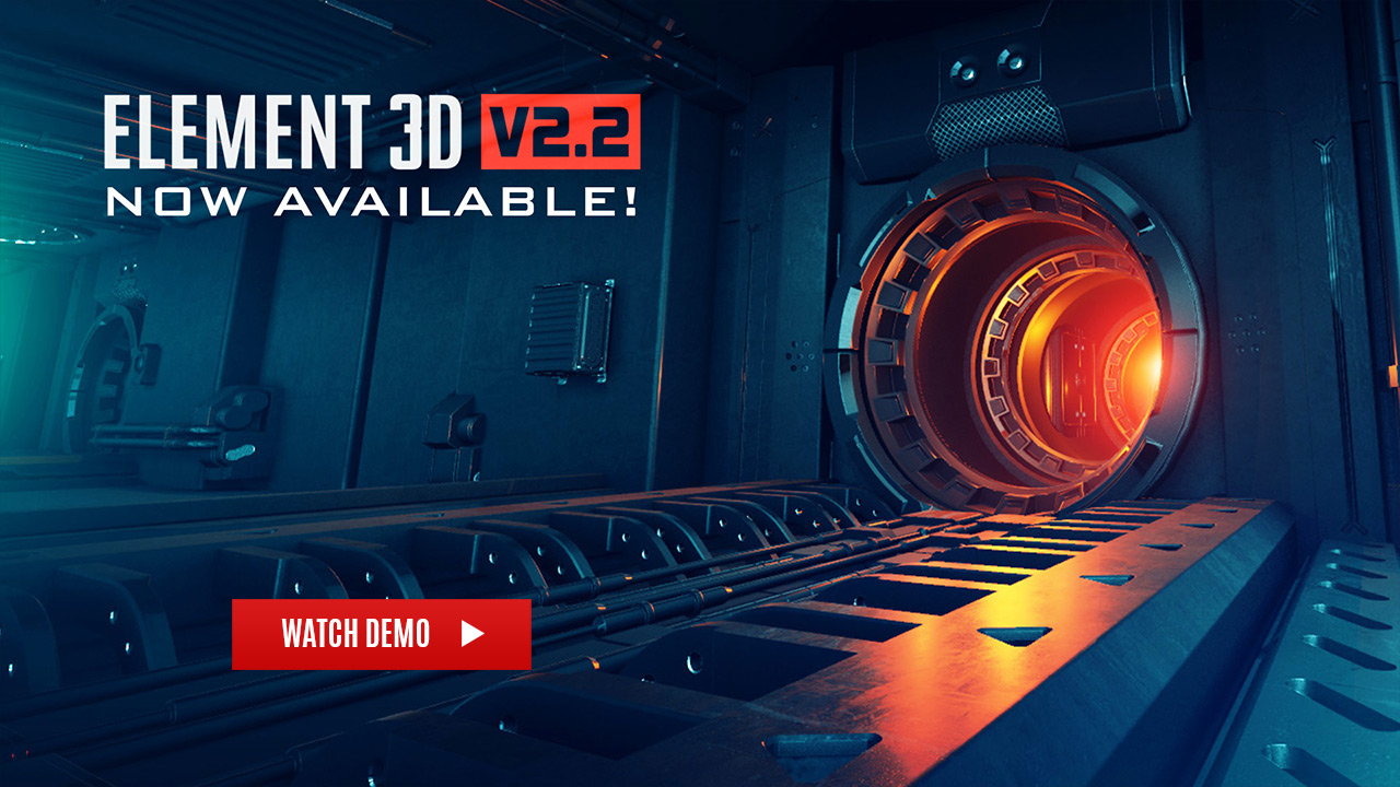 E3D三维模型AE插件 Video Copilot Element 3D v2.2.2.2168 Win/Mac 破解版 兼容CC 2019